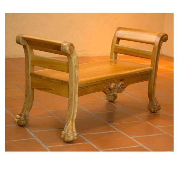 Handcrafted Cedar Wood 'Mexican Renaissance' Bench (Mexico)