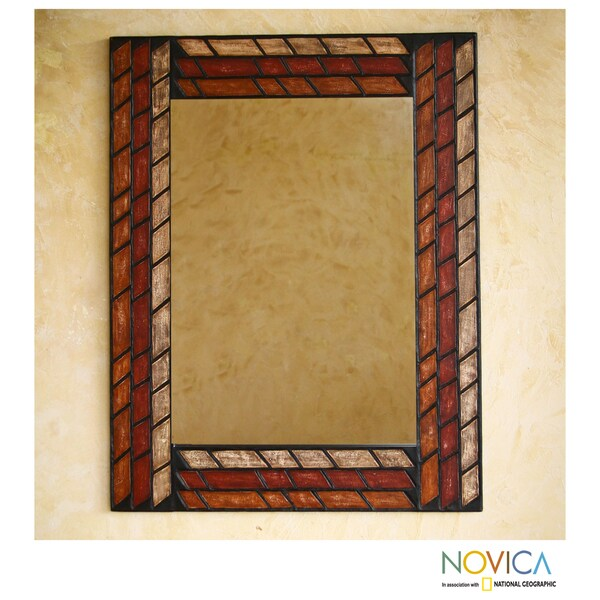 Handcrafted Leather 'Inca Bricks' Mirror (Peru)
