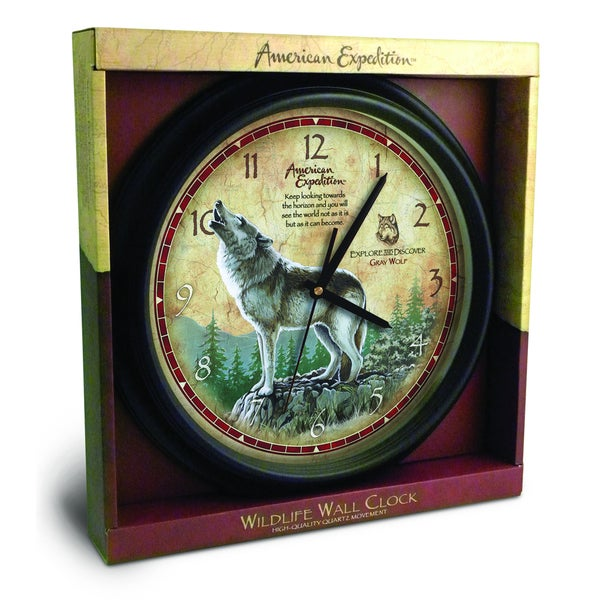American Expedtion 16-inch Grey Wolf Wall Clock