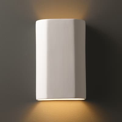 Strick & Bolton Wes Cylindrical Ceramic Bisque 1-light ADA Wall Sconce