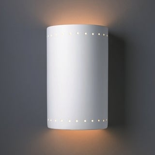 Cylindrical Ceramic Bisque 2-light Wall Sconce