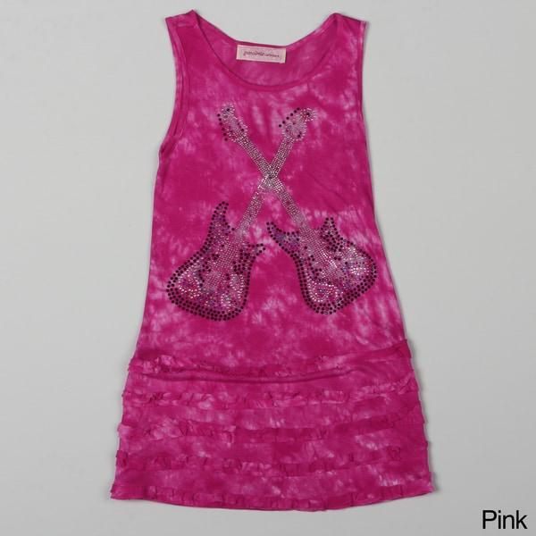 Paulinie Collection Girl's Sleeveless Guitar-print Tie-dye Dress