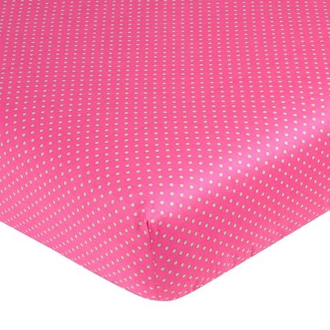 Sweet JoJo Designs Jungle Friends Pink Polka Dot Fitted Crib Sheet