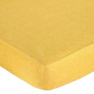 Sweet JoJo Designs Jungle Friends Yellow Hatch Fitted Crib Sheet