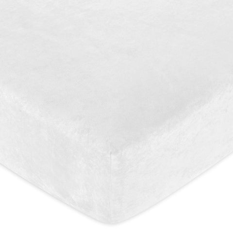 Sweet JoJo Designs White Microsuede Fitted Crib Sheet