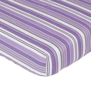 Sweet JoJo Designs Purple and Black Kaylee Stripe Fitted Crib Sheet