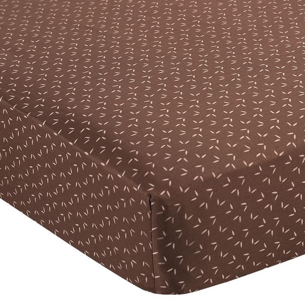 Sweet JoJo Designs Night Owl Mini Leaf Print Fitted Crib Sheet