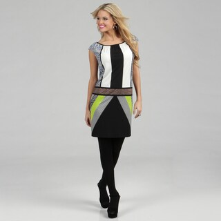 London Times Women's Green Geometric Printed Jersey Dress