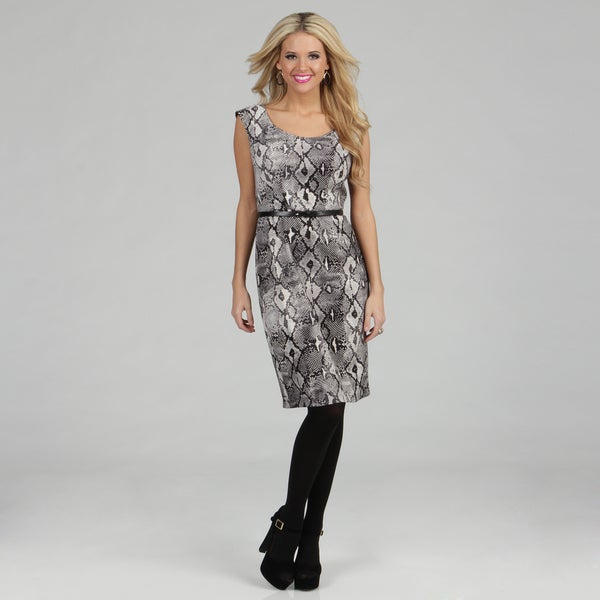 London Times Women's Grey Reptile Printed Sheath Dress