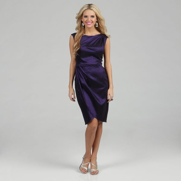 London Times Women's Sapphire Taffeta Gathered Sheath Dress