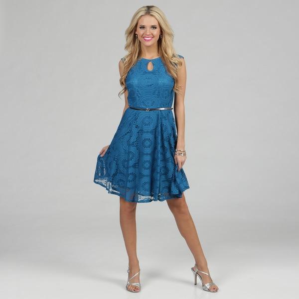 London Times Women's Bluejay Lace Overlay Sheath Dress