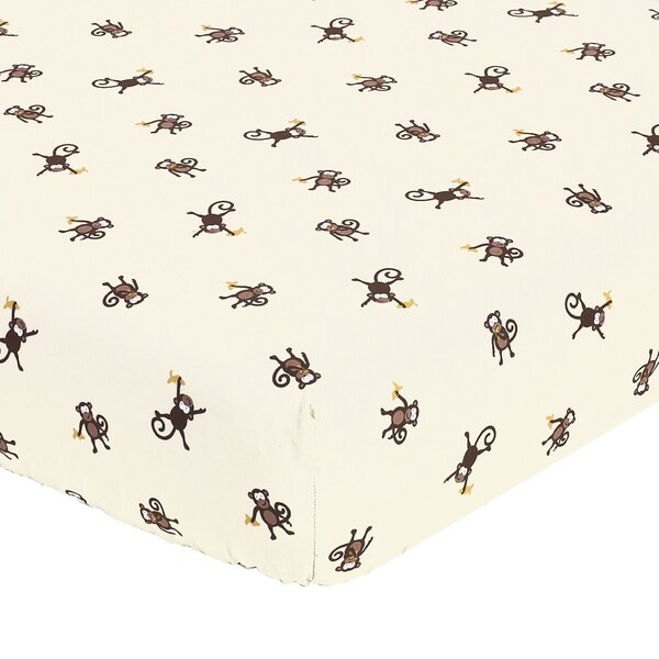 Sweet JoJo Designs Monkey Fitted Crib Sheet