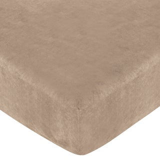 Sweet JoJo Designs Camel Microsuede Monkey Fitted Crib Sheet