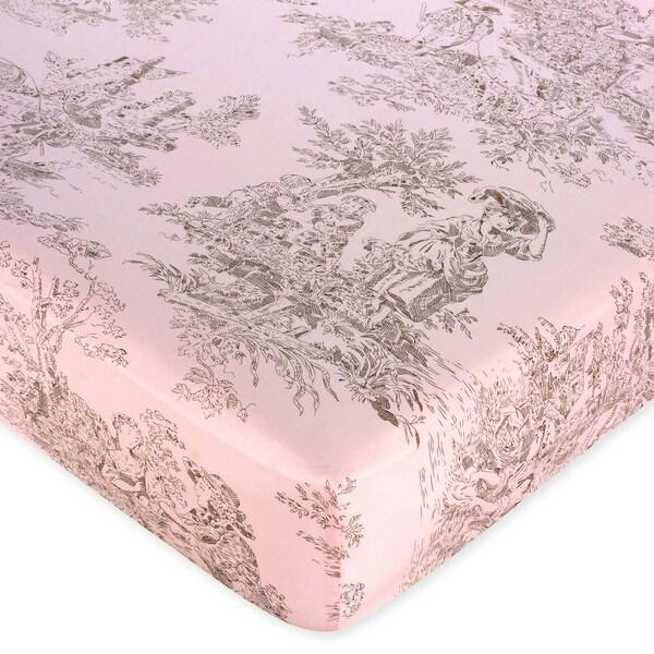 Shop Sweet Jojo Designs Pink Brown Toile Fitted Crib Sheet