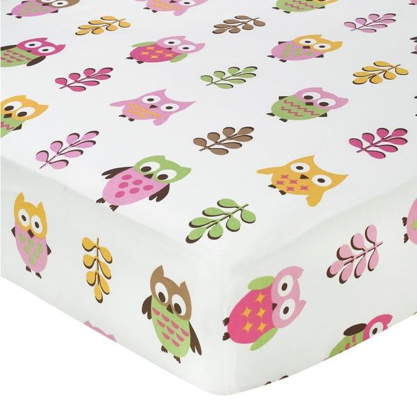 Sweet JoJo Designs Pink Happy Owl Print Fitted Crib Sheet