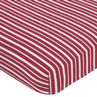 Sweet JoJo Designs Treasure Cove Red Stripe Print Fitted Crib Sheet