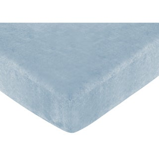 Sweet JoJo Designs Soho Blue Microsuede Fitted Crib Sheet