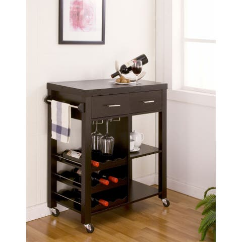 Furniture of America Stewardee Contemporary Mobile Kitchen Bar Cart