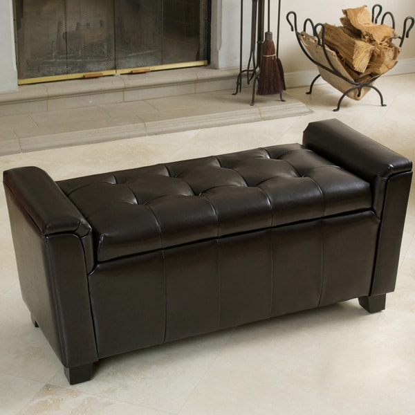 Bosworth Tufted Espresso Leather Storage Ottoman by Christopher Knight Home