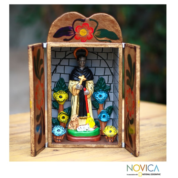 Handmade Ceramic 'Saint Martin De Porres' Retablo Diorama (Peru)