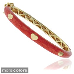 Molly and Emma 18k Gold Overlay Children's Marbled Enamel Heart Bangle
