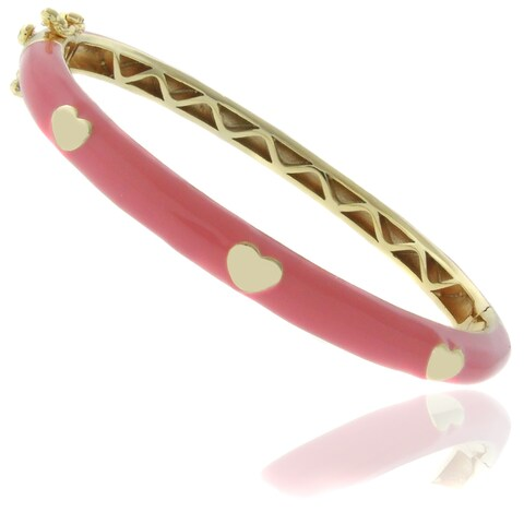 Molly and Emma 18k Gold Overlay Children's Enamel Heart Bangle