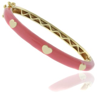 Link to Molly and Emma 18k Gold Overlay Children's Enamel Heart Bangle Similar Items in Children's Jewelry