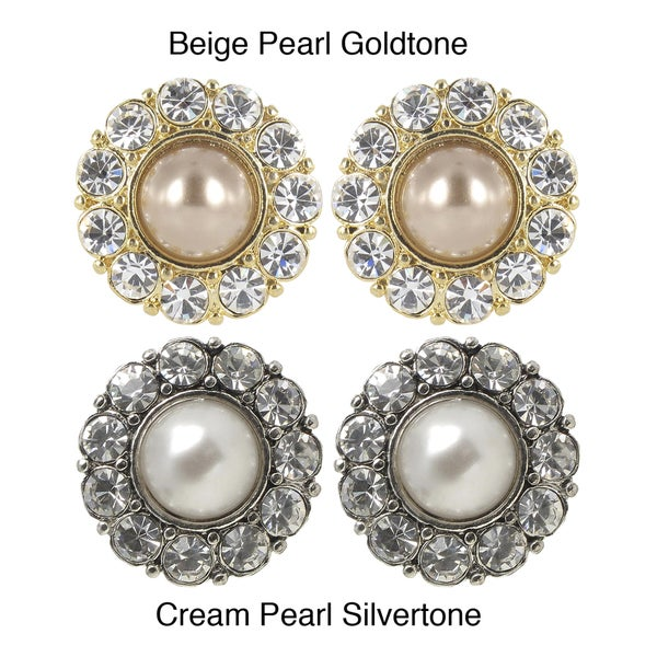 Roman Cream or Beige Faux Pearl and Crystal Earrings