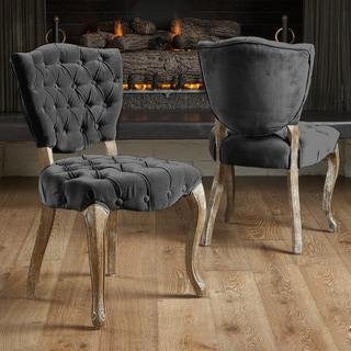 Bates Tufted Charcoal Fabric Dining Chairs (Set of 2) by Christopher Knight Home