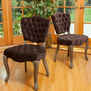 Bates Tufted Dark Chocolate Fabric Dining Chairs (Set of 2) by Christopher Knight Home