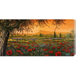 Global Gallery Tebo Marzari 'Pianura in fiore' Stretched Canvas Art