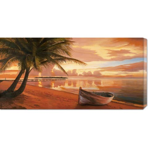 Global Gallery Adriano Galasso 'Tramonto ai tropici' Stretched Canvas Art - Multi