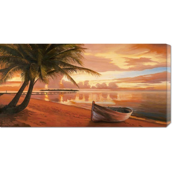 Global Gallery Adriano Galasso 'Tramonto ai tropici' Stretched Canvas Art