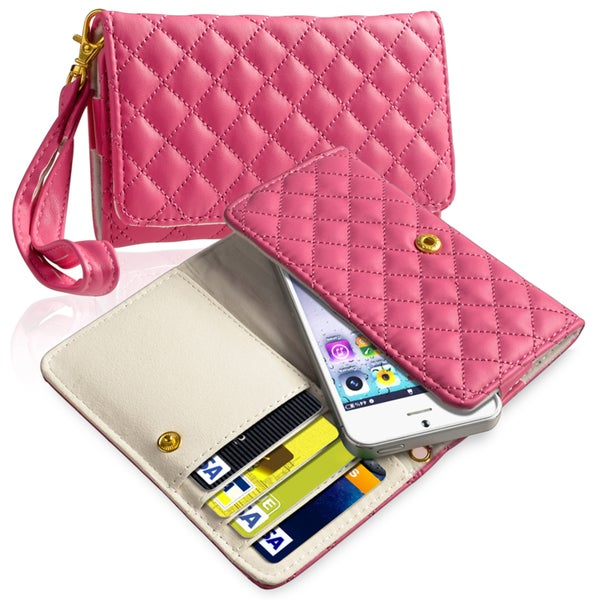 INSTEN Hot Pink Universal Leather Wallet Phone Case Cover
