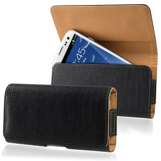 INSTEN Black/ Brown Universal Horizontal Leather Phone Case Cover