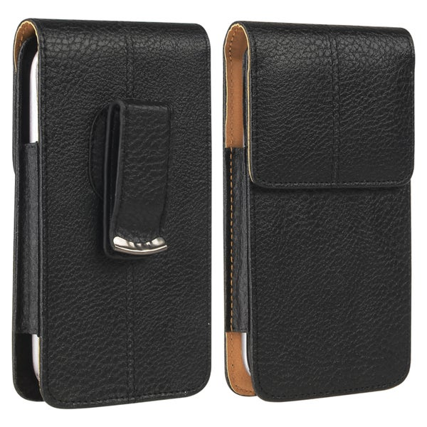 INSTEN Black/ Brown Universal Vertical Leather Phone Case Cover