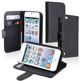 Insten Black Leather Glossy Wallet Flap Pouch Case Cover with Stand For Apple iPod Touch 5th/ 6th Gen