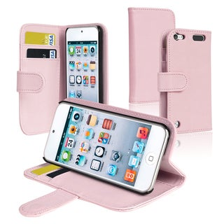 Insten Pink Leather Glossy Wallet Flap Pouch Case Cover with Stand For Apple iPod Touch 5th/ 6th Gen