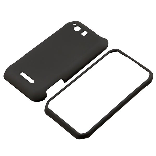 INSTEN Black Snap-On Rubber Coated Phone Case Cover for Motorola Photon Q XT897