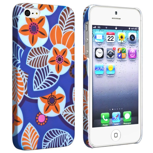 INSTEN Flower Rear Style 23 Rubber Coated Phone Case Cover for Apple iPhone 5