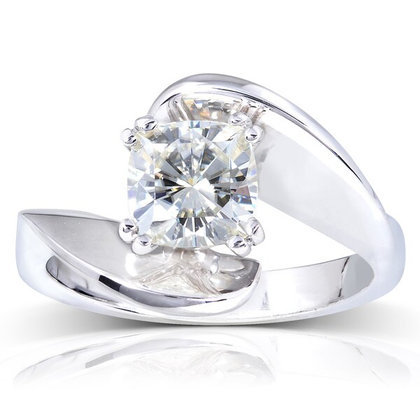 Annello by Kobelli 14k White Gold Cushion-cut Moissanite Solitaire Curved Ring