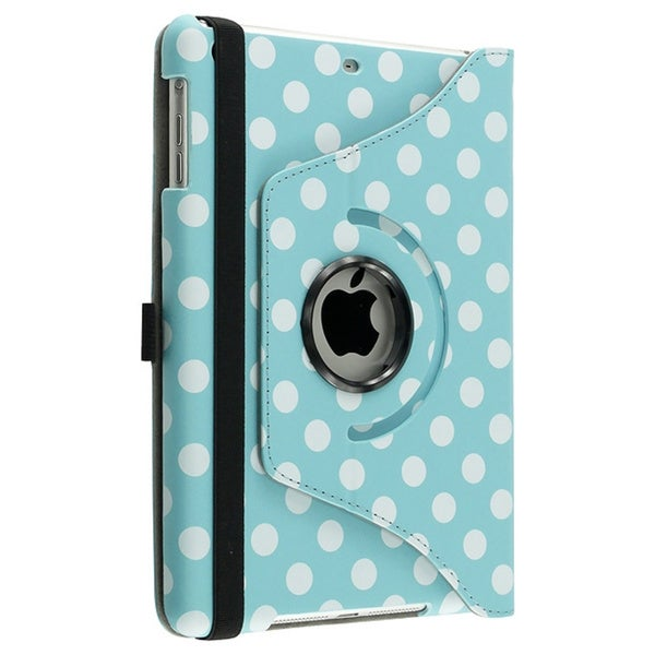 INSTEN Blue/ Dot 360-degree Leather Tablet Case Cover for Apple iPad Mini 1/ 2 Retina Display