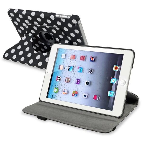 INSTEN Black/ Dot 360-degree Swivel Leather Tablet Case Cover for Apple iPad Mini