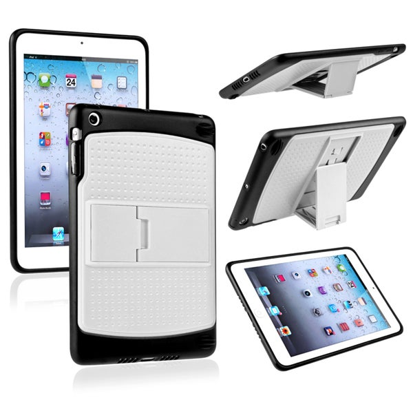 INSTEN White/ Black TPU Hybrid Tablet Case Cover with Stand for Apple iPad Mini