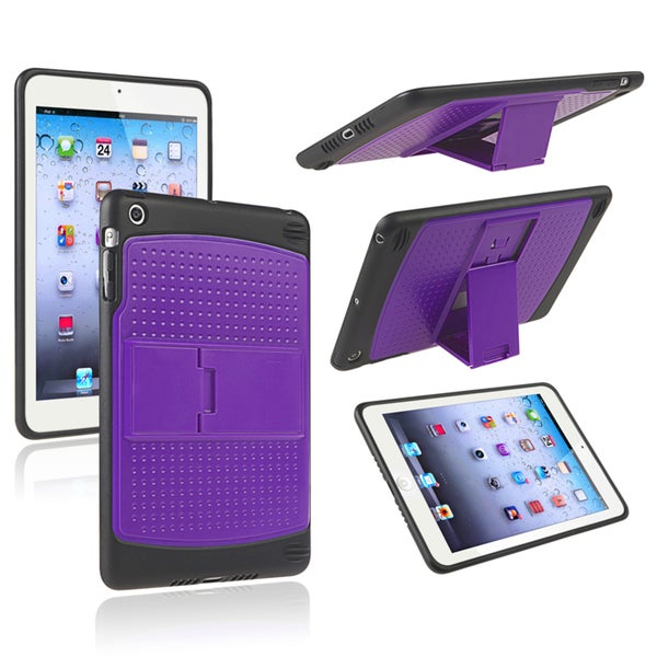 INSTEN Purple/ Black TPU Hybrid Case Cover with Stand for Apple iPad Mini