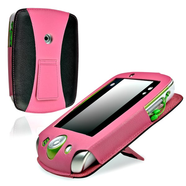 INSTEN Pink/ Black Leather Phone Case Cover for LeapFrog LeapPad 2