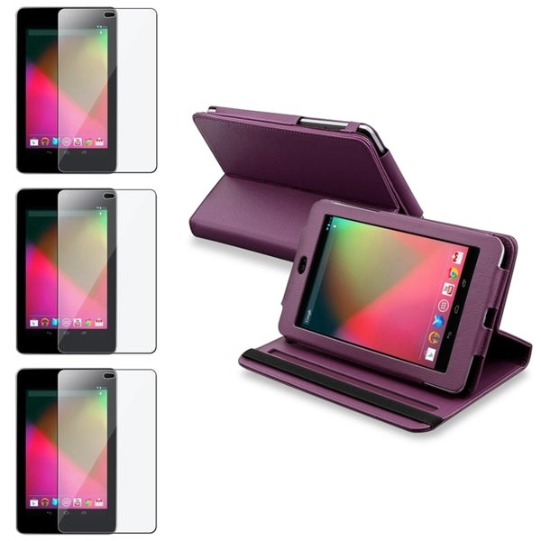 INSTEN Purple Leather Swivel Phone Case Cover/ LCD Protector for Google Nexus 7