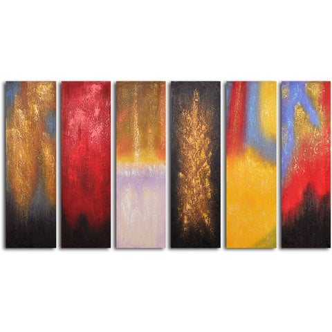Hand Painted 'Shades of fire' Oil Painting 6-piece Set