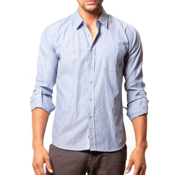 191 Unlimited Men's Slim Fit Blue Woven Long-Sleeve Shirt