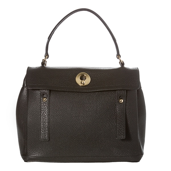 Yves Saint Laurent 'Muse Two' Black Pebbled Leather Satchel Bag